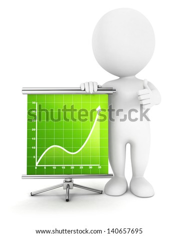 3d white people success diagram, isolated white background, 3d image - stock photo