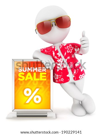 3d white people summer sale, isolated white background, 3d image - stock photo