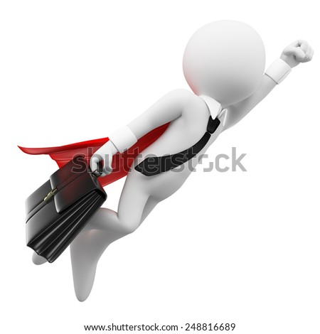 3d white people. Super Businessman flying with a suitcase. Isolated white background. - stock photo