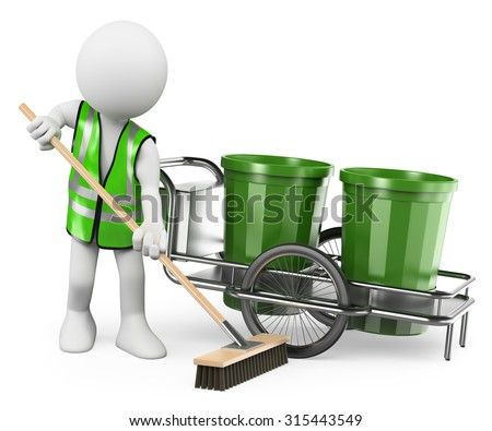 3d white people. Sweeper working with his broom. Isolated white background. - stock photo