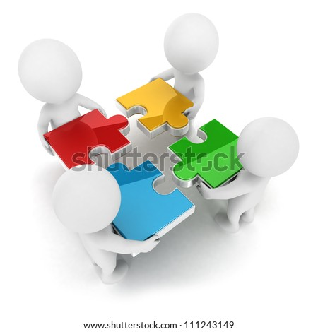 3d white people team assemble four color piece of a puzzle, isolated white background, 3d image - stock photo