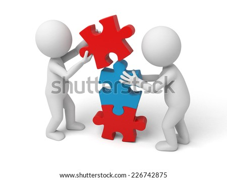 3d white people team assemble three piece of a puzzle