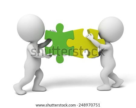 3d white people team assemble two  piece of puzzles. 3d image. Isolated white background
