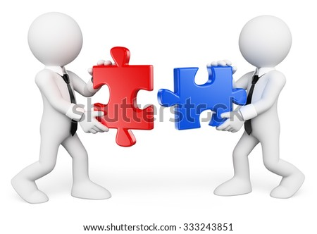 3d white people. Teamwork. Business people solving a puzzle. Isolated white background.