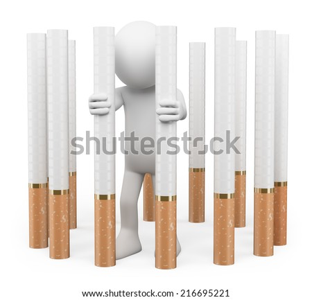 3d white people. Tobacco addiction concept. Trapped in a prison of cigarettes. Isolated white background.  - stock photo