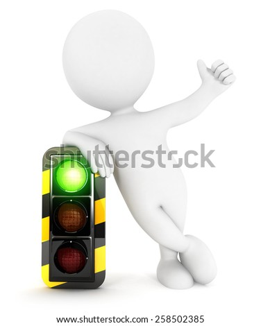 3d white people traffic light on green, isolated white background, 3d image - stock photo