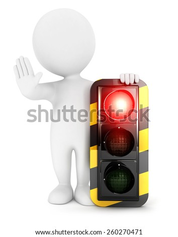 3d white people traffic light on red, isolated white background, 3d image - stock photo