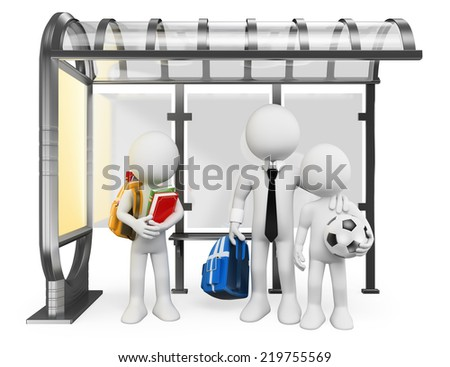 3d white people. Urban children waiting at bus stop going to school. Isolated white background.  - stock photo
