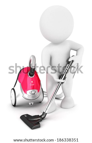 3d white people uses vacuum cleaner, isolated white background, 3d image - stock photo
