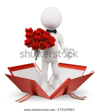 3d white people. Valentines. Man with a bouquet of roses coming out of a gift. Isolated white background.  - stock photo