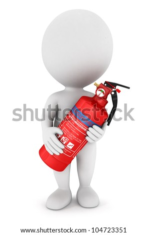 3d white people with a red extinguisher, isolated white background, 3d image - stock photo