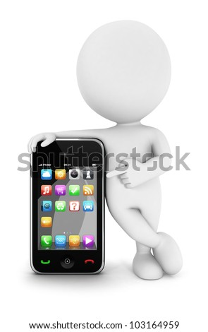 3d white people with a smartphone, isolated white background, 3d image - stock photo