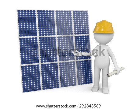 3d white people with a solar panel. 3d image. Isolated white background.