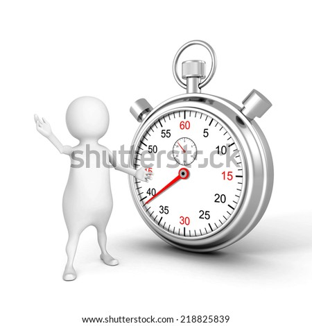 3d white people with classic metal stopwatch. 3d render illustration - stock photo