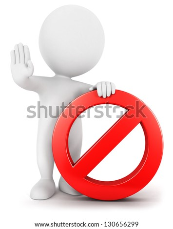 3d white people with forbidden sign, isolated white background, 3d image - stock photo