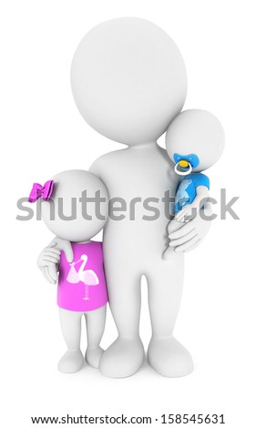 3d white people with his children, isolated white background, 3d image - stock photo
