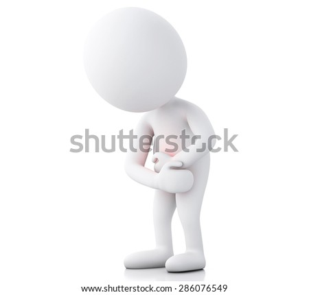 3d white people with stomach ache in red zone. Isolated white background - stock photo