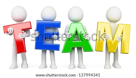 3d white people with team word. Isolated white background. - stock photo