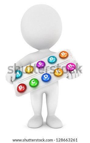 3d white people with vitamin pills, isolated white background, 3d image - stock photo