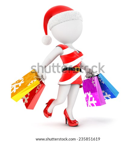 3d white people woman christmas shopping, isolated white background, 3d image - stock photo