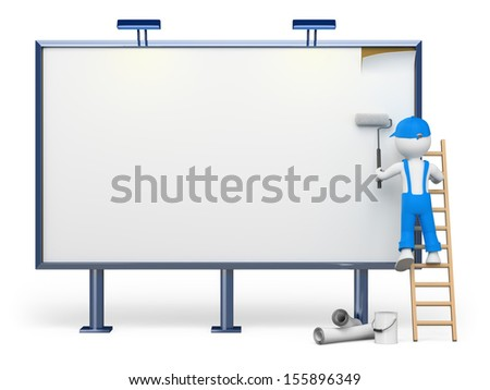 3d white people. Worker on a ladder in a blank billboard. Isolated white background. - stock photo