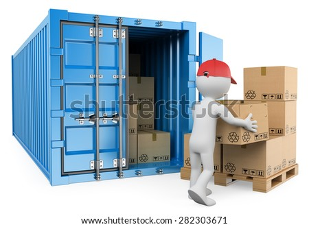3d white people. Worker unloading a container. Isolated white background.  - stock photo
