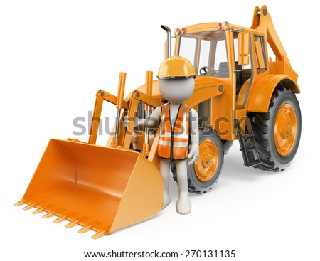 3d white people. Worker with a backhoe loader. Digger. Isolated white background. - stock photo