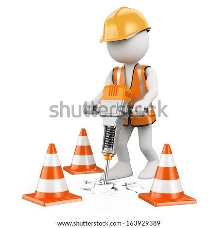 3d white people. Worker with a jackhammer working on a construction. Isolated white background.  - stock photo