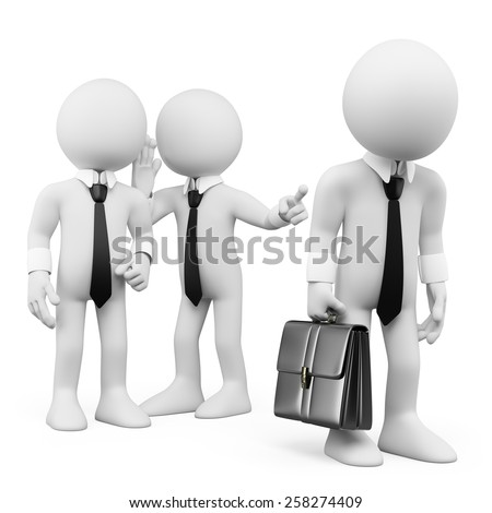 3d white people. Workers gossiping about a colleague. Isolated white background. - stock photo