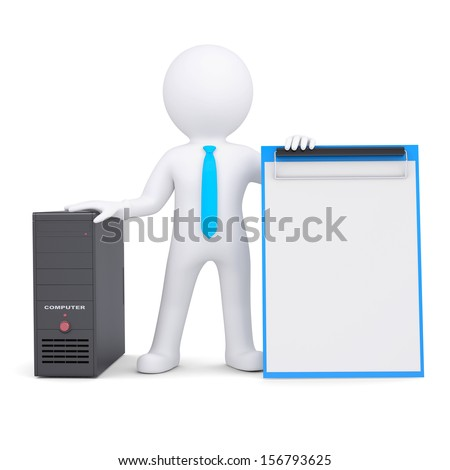 3d white person and a computer system unit. Isolated render on a white background - stock photo