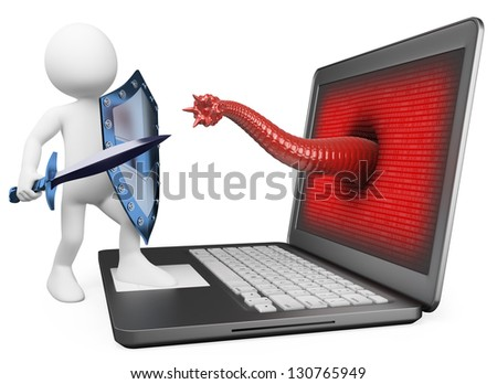 3d white person. Antivirus metaphor. Knight fighting worm virus. 3d image. Isolated white background. - stock photo
