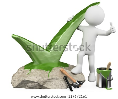 3d white person carving in stone a tick and with thumb up. 3d image. Isolated white background. - stock photo