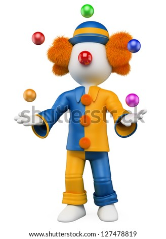 3d white person clown juggling five balls. 3d image. Isolated white background. - stock photo