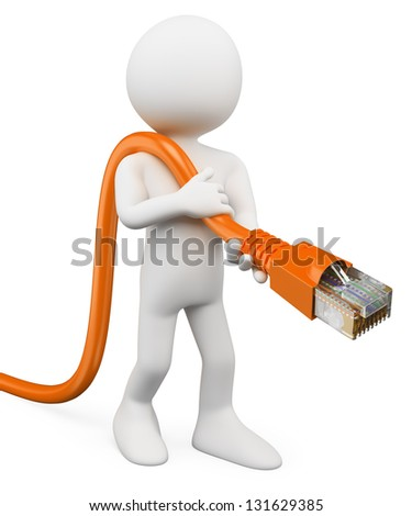 3d white person connecting an RJ45 cable to the network. 3d image. Isolated white background. - stock photo