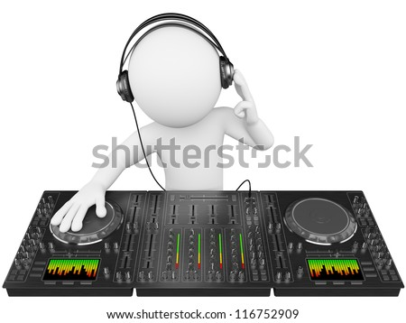3d white person disc jockey with a mixer and headphones. 3d image. Isolated white background. - stock photo