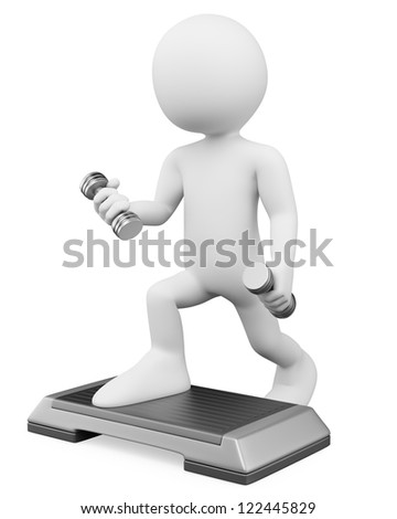 3d white person doing aerobics with weights and steps. 3d image. Isolated white background. - stock photo