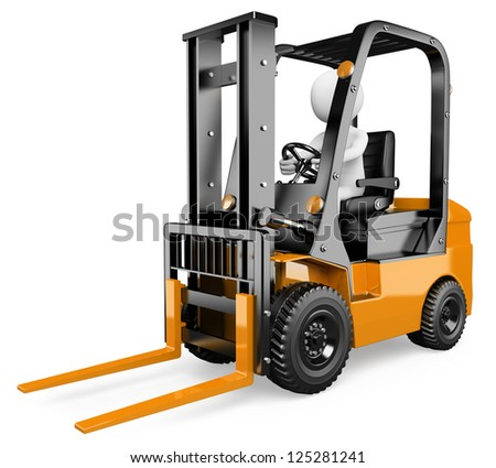 3d white person driving a forklift. 3d image. Isolated white background. - stock photo