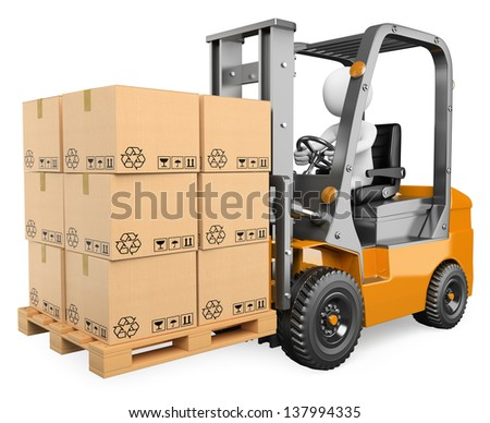 3d white person driving a forklift with boxes in a pallet. Isolated white background. - stock photo