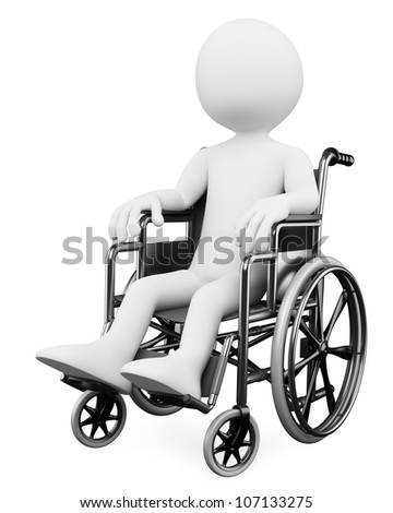 3d white person handicapped in a wheelchair. 3d image. Isolated white background. - stock photo