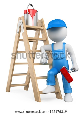 3d white person painter with ladder and paint roller. Isolated white background. - stock photo