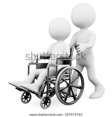 3d white person pushing a handicapped person who is sitting in his wheelchair. 3d image. Isolated white background. - stock photo