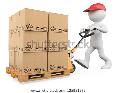 3d white person pushing a pallet truck. 3d image. Isolated white background. - stock photo