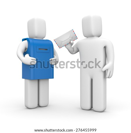 3d white person sends a letter - stock photo