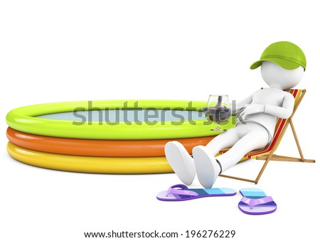3d white person sunbathing on a lounger with a refreshing drink and an inflatable pool - stock photo