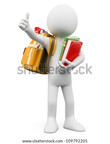3d white person with a backpack and thumb up. 3d image. Isolated white background. - stock photo