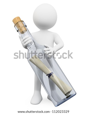 3d white person with a huge message in a bottle. 3d image. Isolated white background. - stock photo