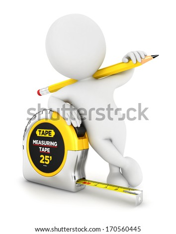 3d white person with a measuring tape, isolated white background, 3d image - stock photo