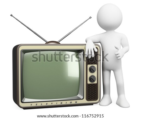 3d white person with a retro television. 3d image. Isolated white background. - stock photo