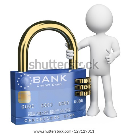 3d white person with a secure credit card padlock. 3d image. Isolated white background. - stock photo