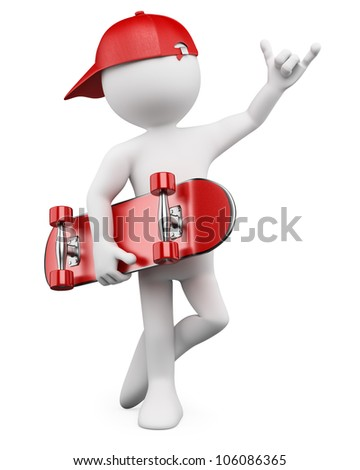 3d white person with a skate and a cap. 3d image. Isolated white background.